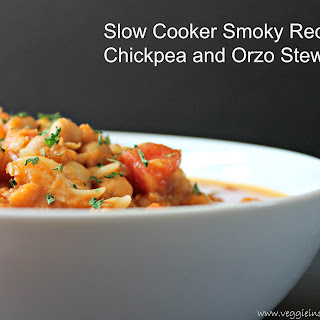 Slow Cooker Smokey Red Lentil, Chickpea and Orzo Stew.