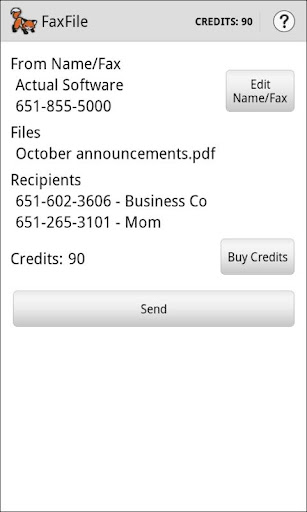 FaxFile - Send Fax from phone screenshot