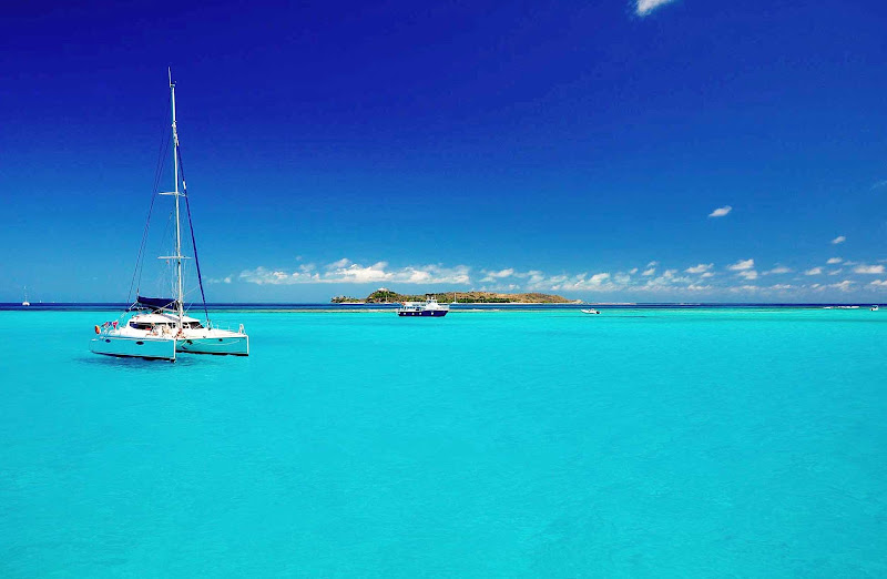 Necker Island in a sea of turquoise, near Virgin Gorda in the British Virgin Islands.