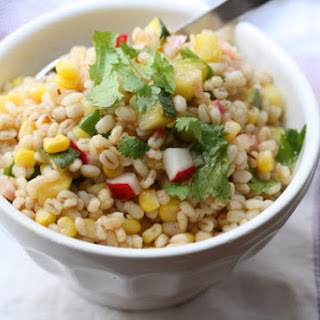 Chipotle Barley Salad with Corn, Zucchini, and Radishes.