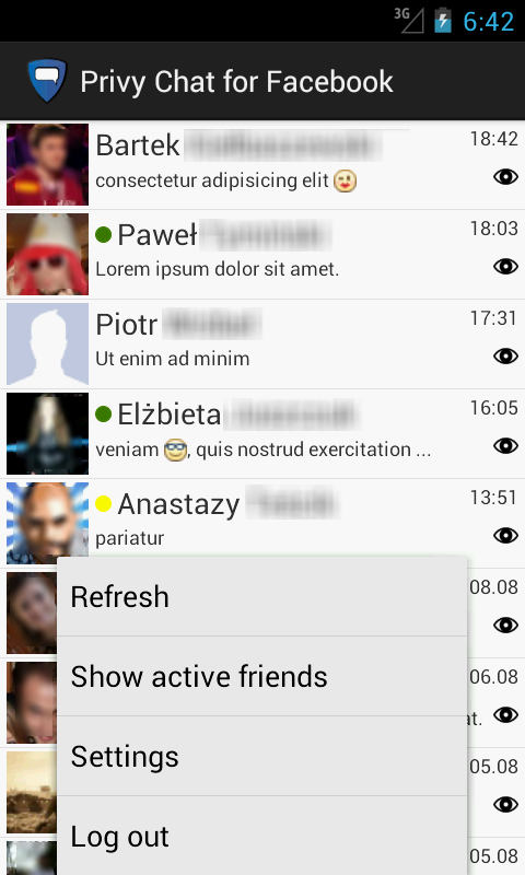Privy Chat for Facebook - screenshot