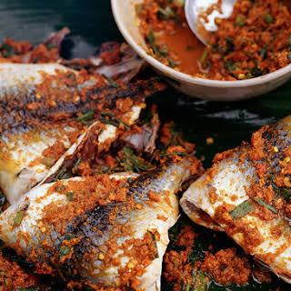 Grilled Snapper with Fresh Turmeric Marinade.