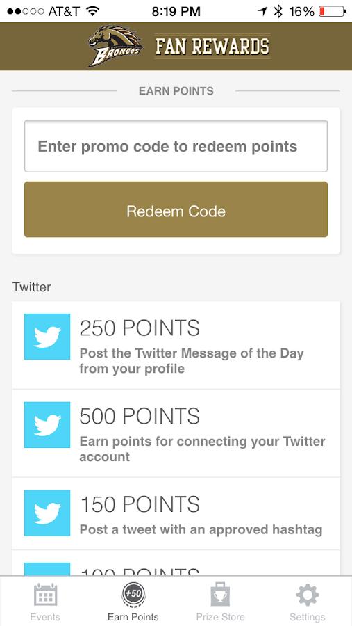 Bronco Fan Rewards- screenshot