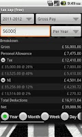 Screenshot of tax zap free-UK tax calculator