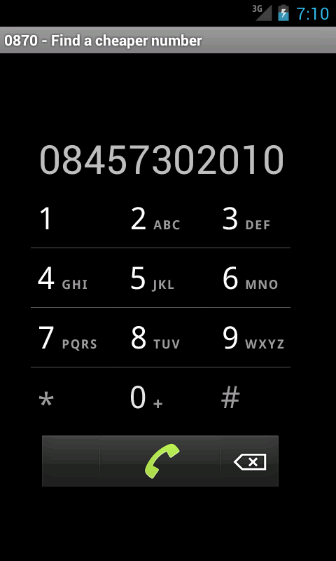 0870 - Find a cheaper number - screenshot
