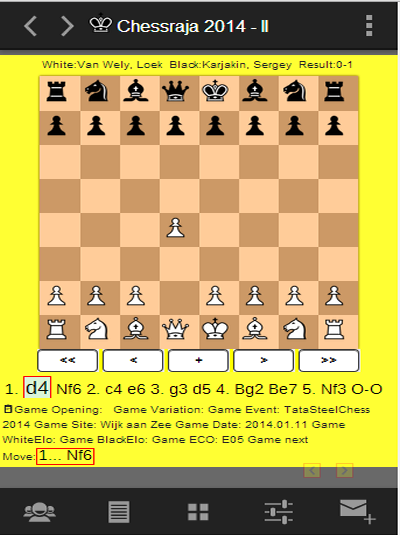 Chess European tournaments- screenshot