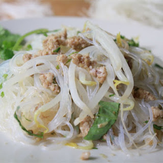 Cellophane Noodles with Pork and Thai Basil.