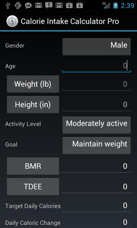 Calorie Intake Calculator Pro - screenshot