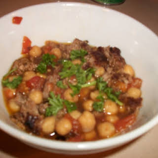 Moroccan Spiced Lamb Sausage Patties with Chickpeas in Tomato Broth.