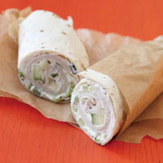 Turkey Wrap with Cucumber Cream Cheese.