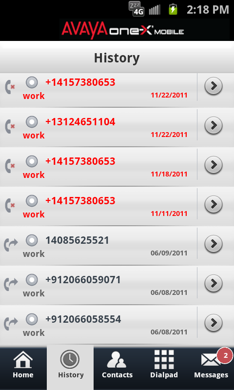 Avaya one-X® Mobile- screenshot