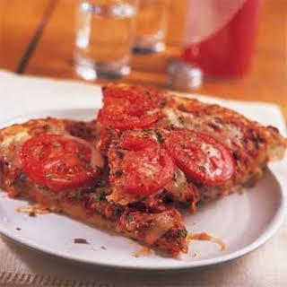 Roasted Pepper Pesto-Tomato Pizza.