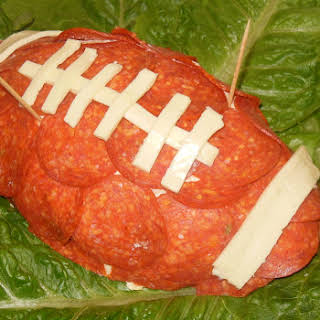 Football Shaped Crab Cheese Ball.