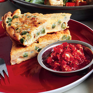Curried Pea Frittata with Fresh Tomato Chutney