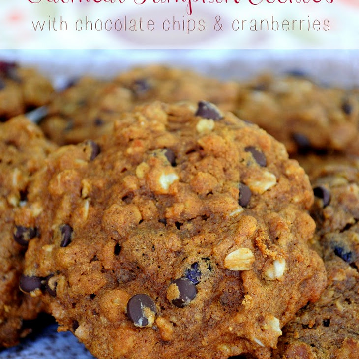 Oatmeal Pumpkin Cookies with Chocolate Chips and Cranberries Recipe