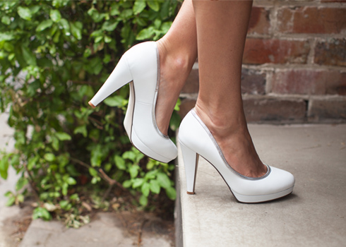 White 4.5 inch heels with silver trim