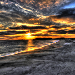 Sunset in Newfoundland (HDR) by Eugene Ball - Landscapes Sunsets & Sunrises ( water, sand, sky, sunset, scenic )