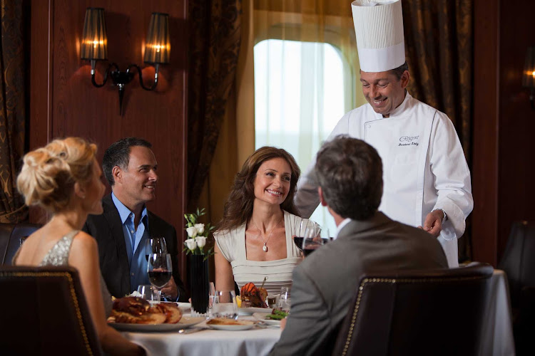 Experience personal service when dining at Prime 7 or elsewhere aboard Seven Seas Mariner.