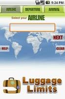 Screenshot of Luggage Limits
