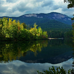 Table Rock from Carrick Lake by Jonathan Wheeler - Landscapes Weather ( mountains, autumn, reflections, south carolina mountains, storm light, light )