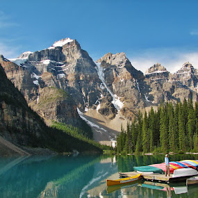 the boats in moraine lake by Ryan Chornick - Landscapes Waterscapes ( rocky mountains, lakes, maountains, banff,  )