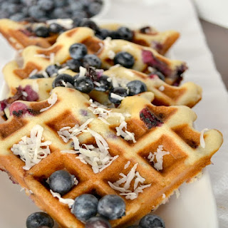 Blueberry Coconut Waffles.