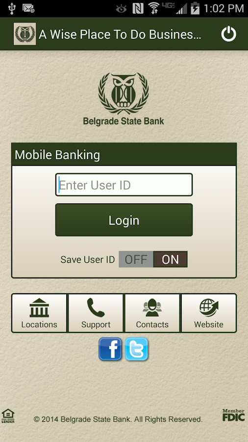 Belgrade State Bank Mobile - screenshot