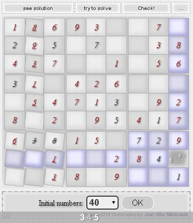 Yasminoku sudoku with solver- screenshot