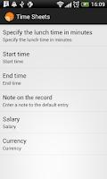 Screenshot of Time sheets