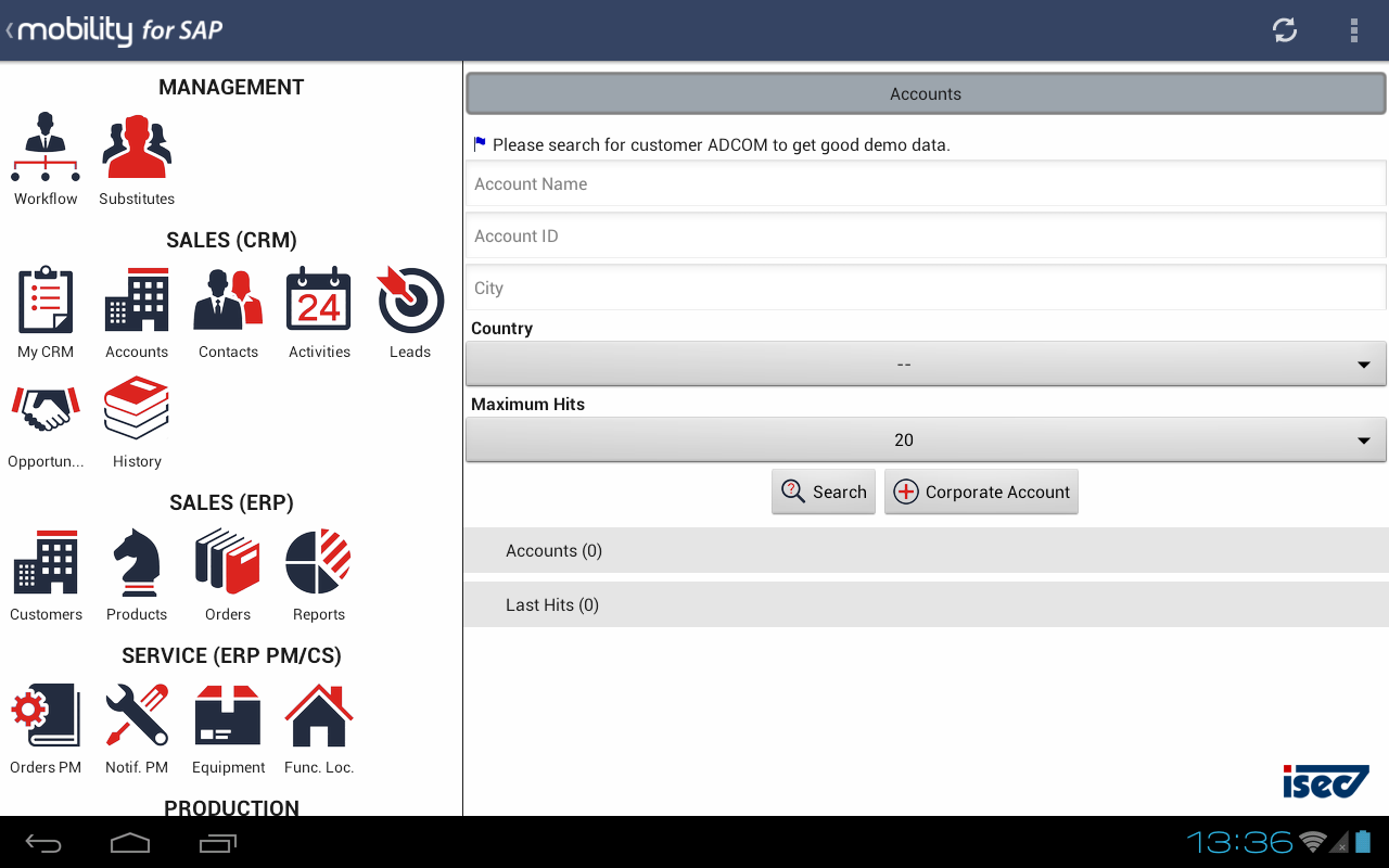 Mobility for SAP for SECTOR - screenshot