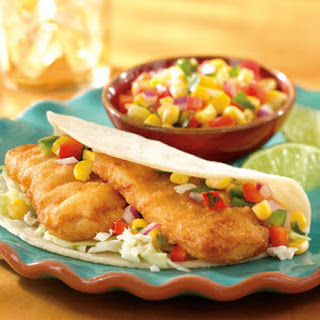 Fish Tacos with Corn Salsa.