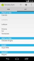 Screenshot of Grocery Sum Shopping List