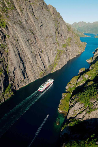 Experience Trollfjorden, a spectacular fjord in Lofoten, Norway,  aboard Hurtigruten's ship Nordkapp.