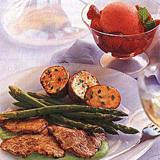Veal Scaloppine with Spring Pea Coulis and Asparagus.