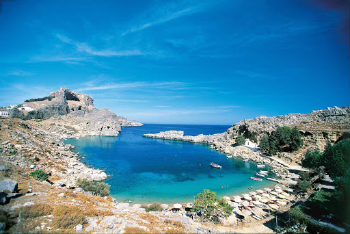 Explore the beautiful beaches and rugged coastline of the Greek island of Rhodes.