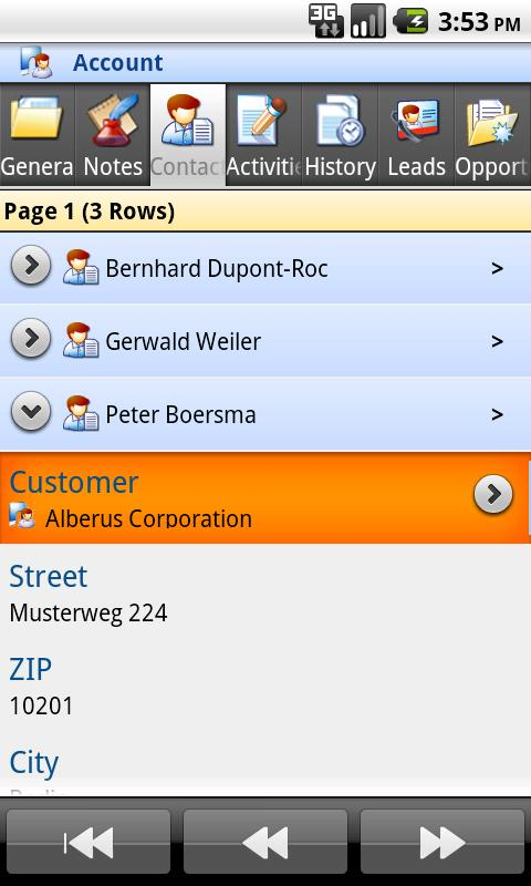 Mobile Client MS Dynamics CRM - screenshot