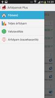 Screenshot of Árfolyamok Plus