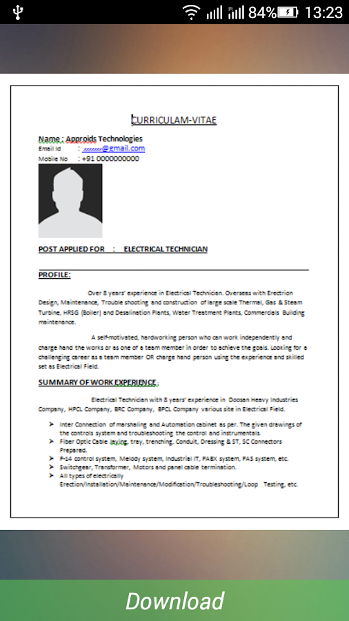 resume formats download screenshot