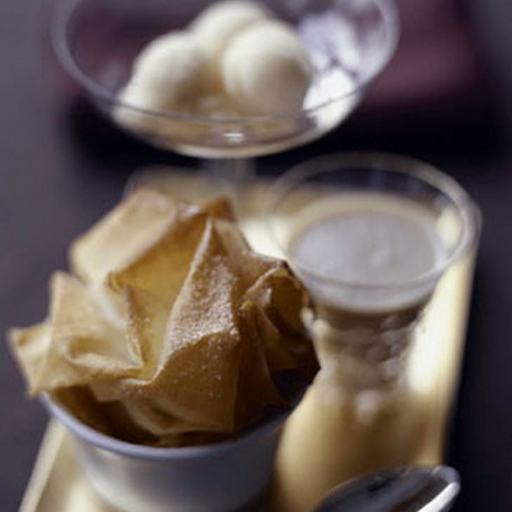 Pear Clafoutis with Phyllo Crisps, Cider Sauce, and Quince Sorbet Recipe