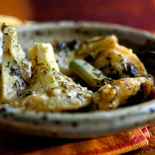 Braised Greek Artichoke Bottoms with Lemon and Olive Oil Recipe