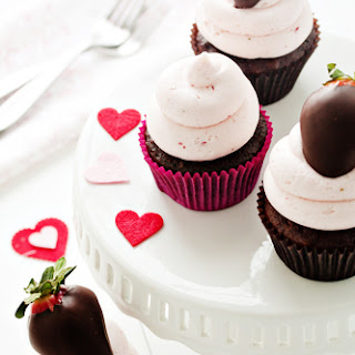 Chocolate Covered Strawberry Cupcakes.