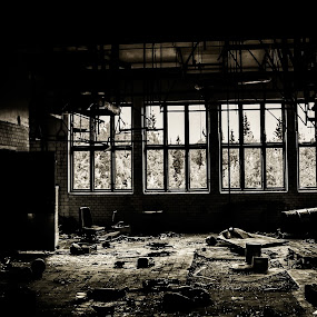 Slaughter by Erika Lorde - Buildings & Architecture Decaying & Abandoned ( blackandwhite, old, slaughterhouse, dark, abandoned )