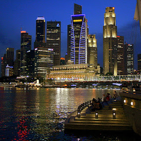 Singapore's Financial Centre by Leong Jeam Wong - Buildings & Architecture Office Buildings & Hotels ( fullerton, centre, night, bank, hotel, business, city, singapore river )