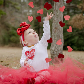 Raining Hearts by Michele Dan - Public Holidays Valentines Day ( hearts, red, valentines, baby girl, valentine )