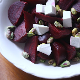 Roasted Beet Salad with Ricotta Salata and Pistachios.
