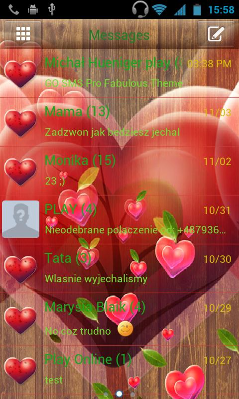 GO SMS Pro Fabulous Hearts - screenshot