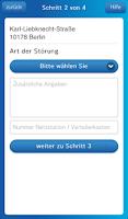 Screenshot of Stromnetz Berlin StörMeldung