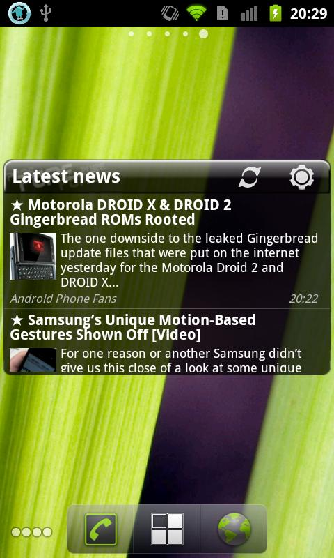 Pure news widget (scrollable) - screenshot