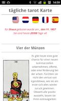 Screenshot of tägliche tarot Karte