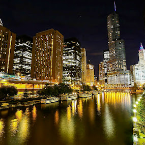 NIGHT SKYLINE by Michael Rey - Buildings & Architecture Office Buildings & Hotels ( chicago river, office buildings, reflections, chicago, downtown skyline )